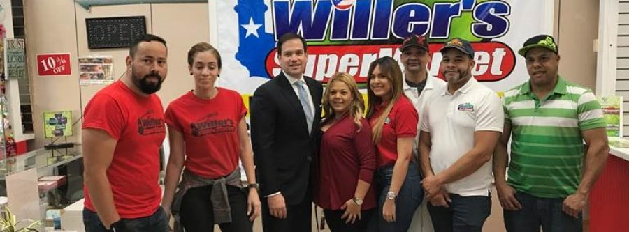 Senator Marco Rubio stops by client Willer's SuperMarket to talk franchising